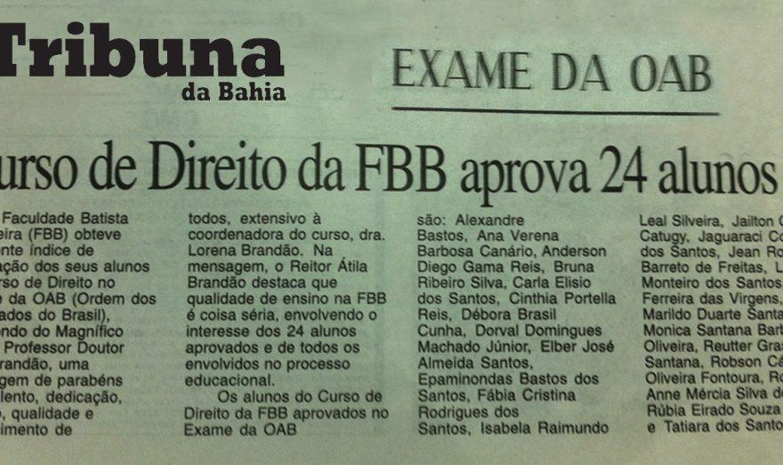 Resultado de Exame da OAB de alunos da FBB é matéria de jornal