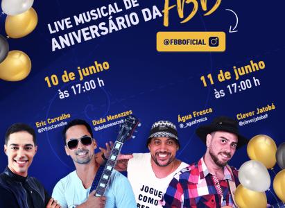 Faculdade Batista Brasileira comemora 21 anos com uma programação de lives musicais nos dias 10 e 11/06